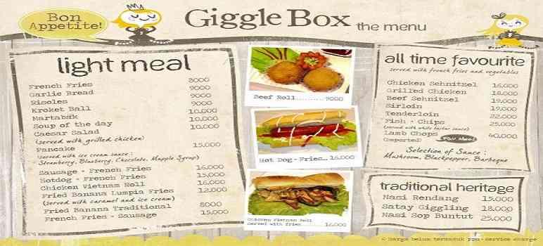 Menu Giggle Box Bandung