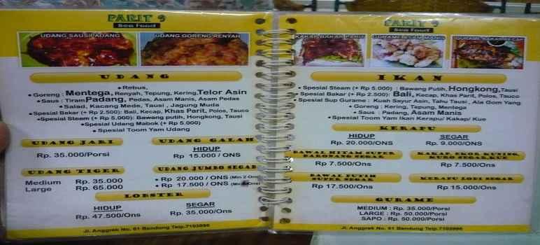 Harga  Parit 9 Seafood Bandung