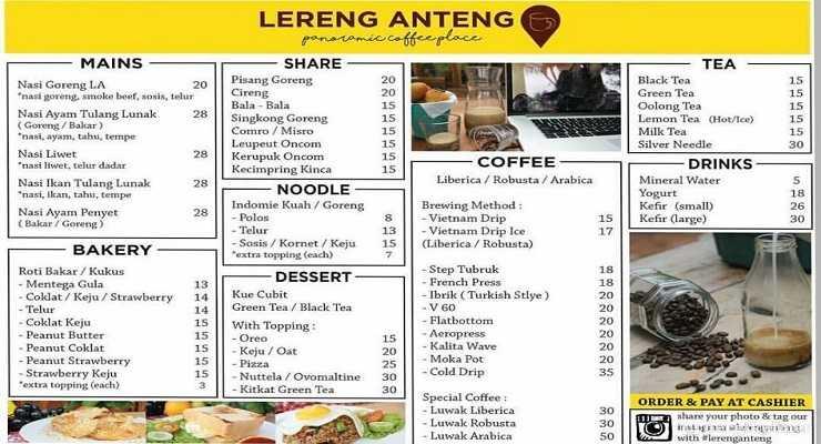 Daftar Menu Lereng Anteng Bandung