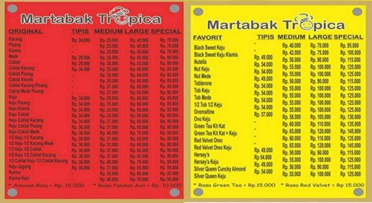 Daftar Harga Menu Martabak Tropica Bandung