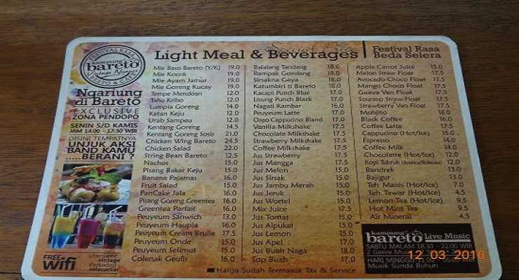 Harga Menu Kampung Bareto Resto & Cafe Bandung