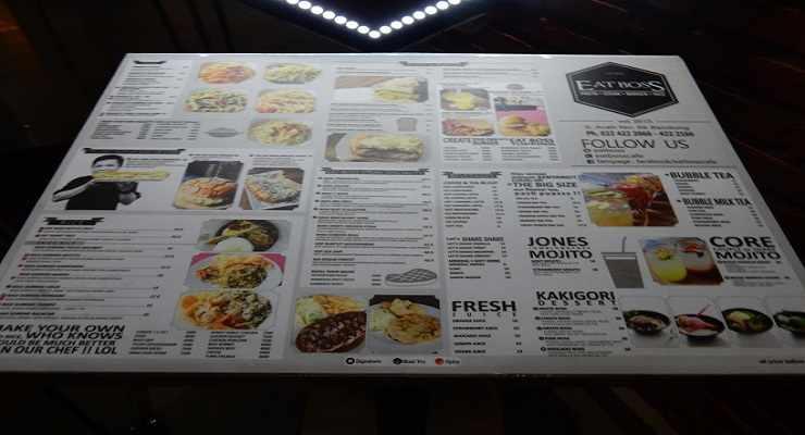 Daftar Harga Menu Cafe Eatboss Bandung