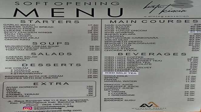 Daftar Harga Menu Makanan dan Minuman di Batu Kincir Resto Mountain Breeze Bandung