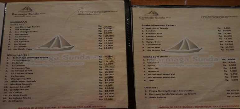 Daftar Harga Menu Makanan Darmaga Sunda Nagreg Bandung