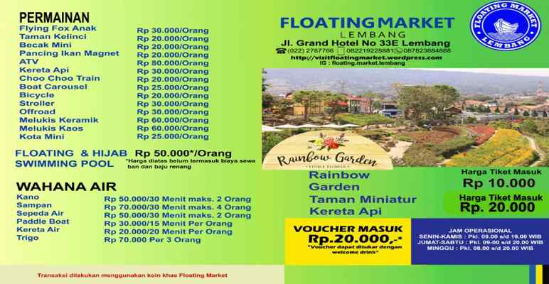 Harga Tiket Masuk Wahana Permainan dan Air Floating Marke Lembang Bandung 2018
