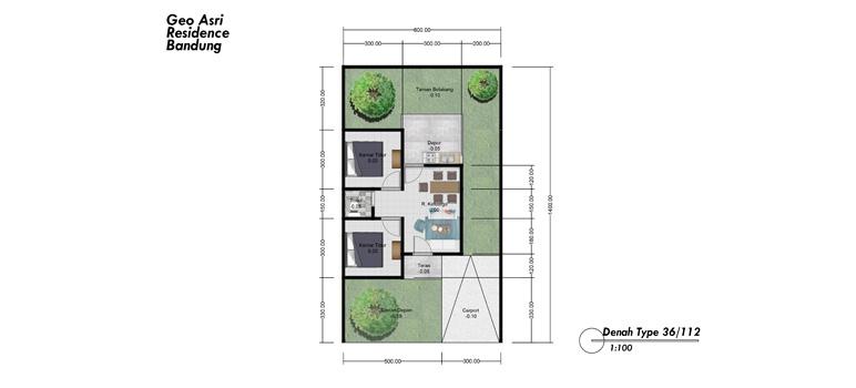 Contoh Denah Type Rumah 36/112 yang Dijual di Geo Asri Arcamanik Bandung