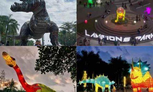 Gambar Foto Taman Dinosaurus di Lampion Park Lapangan Tegallega Kota Bandung