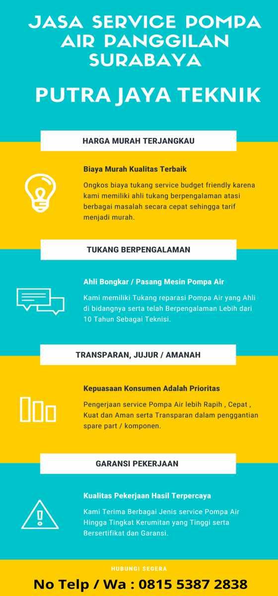 Jasa Tukang Service Pompa Air Panggilan Surabaya 24 JAM Ke Rumah Biaya Murah Infographic